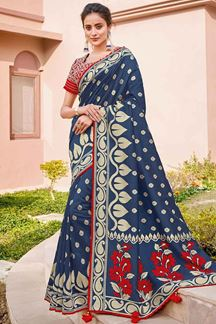 Picture of Stunning Blue & Red Color Traditional Silk Saree