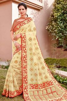Picture of Pleasant Cream & Red Color Traditional Silk Saree