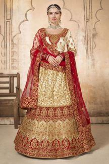 Picture of Pleasant Red Silk Designer Bridal Lehenga Choli