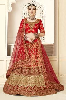 Picture of Stunning Red Colored Designer Bridal Lehenga Choli