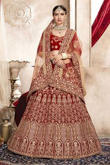 Picture of Sophisticated Bridal Red Designer Lehenga Choli