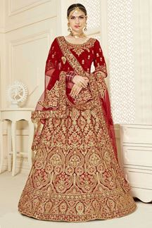 Picture of Exceptional Red Colored Bridal Wear Velvet Lehenga Choli
