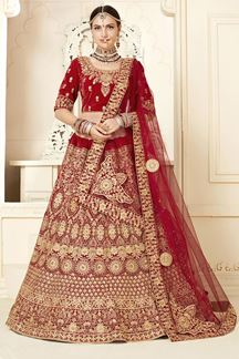 Picture of Dazzling Red Bridal Lehenga Choli