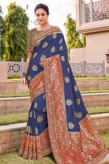 Picture of Mesmerising Blue & Red Color Traditional Silk Saree
