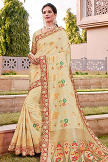 Picture of Impressive Cream & Red Color Traditional Silk Saree