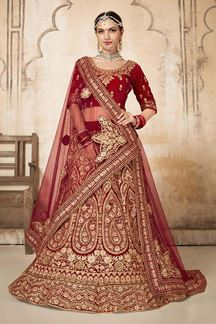 Picture of Lively Red Bridal Wedding Lehenga Choli