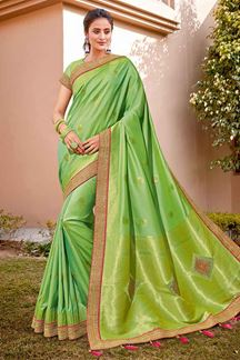Picture of Vibrant Green Color Traditional Silk Saree
