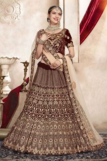 Picture of Tempting Maroon Colored Bridal Wedding Lehenga Choli