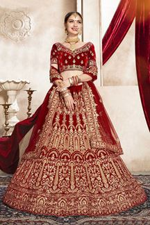 Picture of Eye-catching Red Colored Bridal Wedding Lehenga Choli