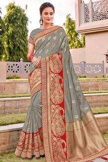 Picture of Graceful Grey & Red Color Traditional Silk Saree
