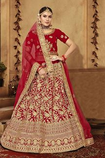Picture of Delightful Red Designer Bridal Wedding Wear Lehenga Choli