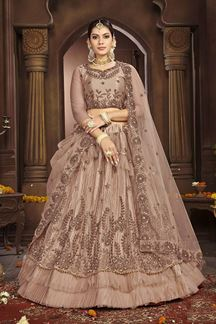 Picture of Artistic Beige Party- Wear Lehenga Choli