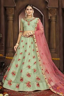 Picture of Soothing Green & Pink Colored Party-Wear Lehenga Choli