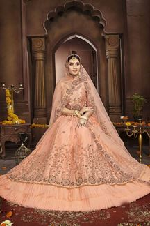Picture of Classic Peach Colored Party-Wear Lehenga Choli
