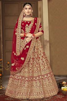 Picture of Mesmersing Red Colored Bridal Wedding Lehenga Choli
