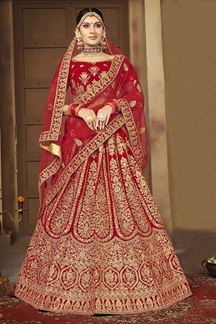 Picture of Flawless Red Colored Bridal Wedding Lehenga Choli