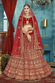 Picture of Gorgeous Red Colored Bridal Wedding Wear Lehenga Choli