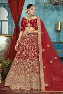 Picture of Appealing Red Colored Designer Bridal Lehenga Choli