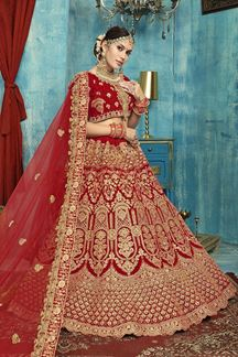 Picture of Outstanding Red colored Bridal Wedding Lehenga Choli