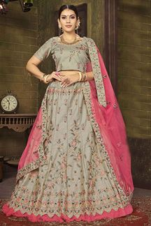 Picture of Ravishing Grey & Pink Designer Lehenga Choli