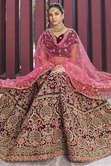 Picture of Pink Heavy Designer Bridal Velvet Lehenga Choli