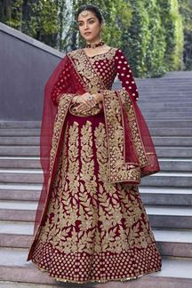 Picture of Maroon Heavy Designer Bridal Velvet Lehenga Choli