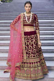 Picture of Maroon & Pink Designer Bridal Velvet Lehenga Choli