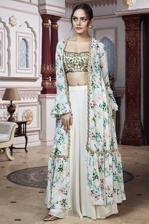 Picture of Bollywood Inspired Off white Designer Palazzo Suit