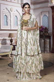 Picture of Breathtaking Mehendi Green Palazzo Suit
