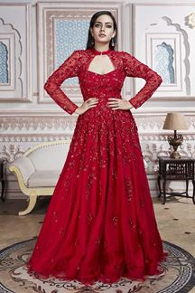 Picture of Contemporary Red Designer Gown