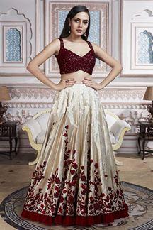 Picture of Beautiful Admiring Maroon & Off-white Designer Lehenga Choli