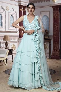 Picture of Stylish Sky Blue Designer Ruffle Lehenga Choli