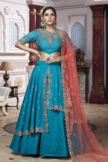 Picture of Beautiful Embroidery Dhupiyan Silk lehenga Choli