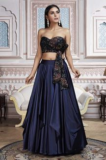 Picture of A Stunning Blue Lehenga With Sequence Work Choli