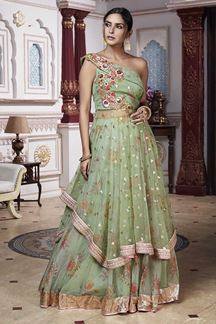 Picture of Pista Green One Shoulder Tops Bollywood Designer Lehenga