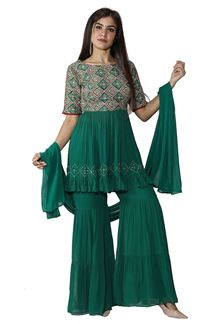 Picture of Green Colored Peplum Style Gharara Style Suit