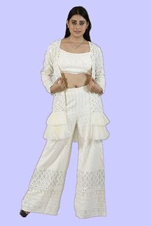 Picture of Cream Color Koti Style Palazzo Suit