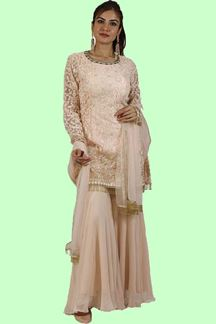Picture of Lovely Peach Colored Palazzo Suit