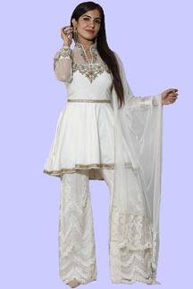Picture of Off-White Colored Peplum style palazzo suit
