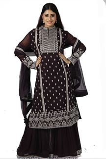 Picture of Trendy wine Colored Party Wear Georgette Gharara Suit