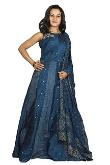 Picture of Amazing Blue Colored Silk Anarkali Suit