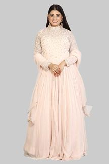 Picture of Excellent Peach Colored Gown With Dupatta