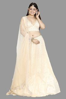 Picture of Golden Cream Colored Designer Lehenga Choli