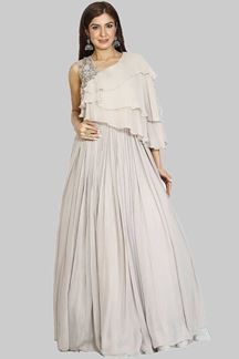 Picture of Designer Grey Colored Georgette Gown