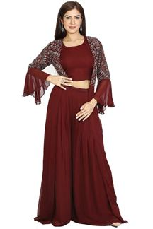 Picture of Maroon Colored Crop Top With Palazzo & Jacket