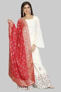 Picture of Exotic White Colored Embroidered Georgette Palazzo Suit