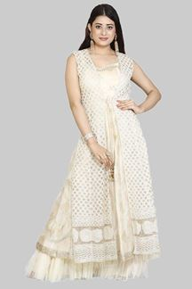 Picture of Designer Beige Colored Anarkali Suit