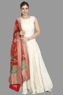 Picture of Attractive Cream Colored Chanderi Silk Anarkali Suit