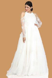 Picture of White Colored Designer Ballroom Gown