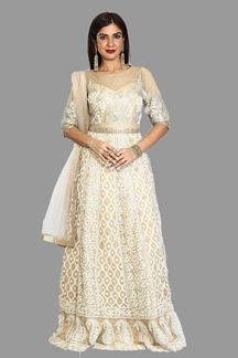 Picture of Adorable Beige Colored Party Wear Georgette Gown